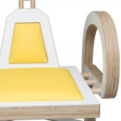 Zoom chaise ELENA design et tendance en bois, blanc/jaune