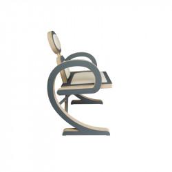 Chaise ELENA design et tendance en bois, gris/beige de profil