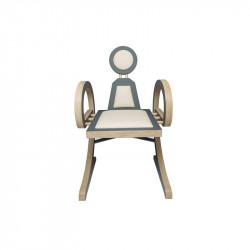 Chaise ELENA design et tendance en bois, gris/beige