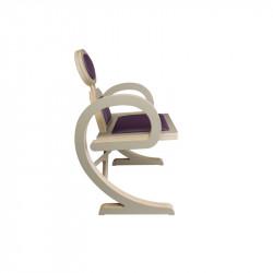 Chaise ELENA design et tendance en bois, taupe/violet de profil