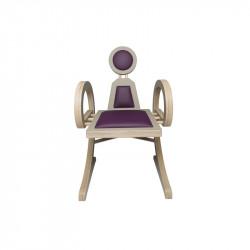 Chaise ELENA design et tendance en bois, taupe/violet