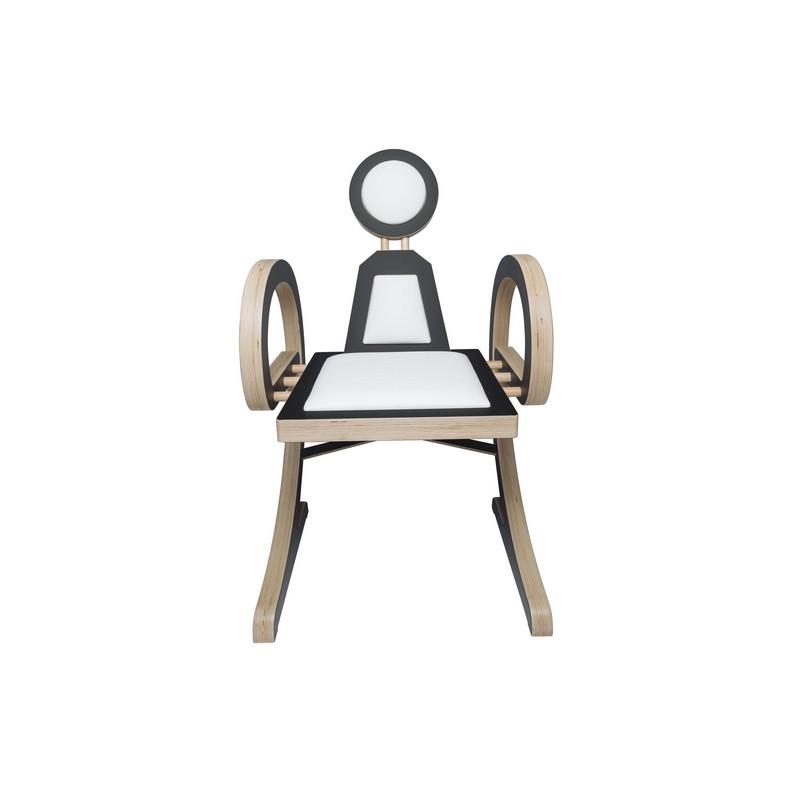 Chaise ELENA design et tendance en bois, noir/blanc