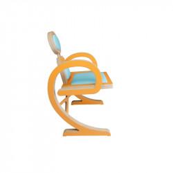 Chaise ELENA design et tendance en bois, orange/turquoise de profil