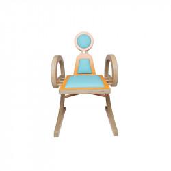 Chaise ELENA design et tendance en bois, orange/turquoise
