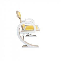 Chaise ELENA design et tendance, en bois blanc/jaune, de profil