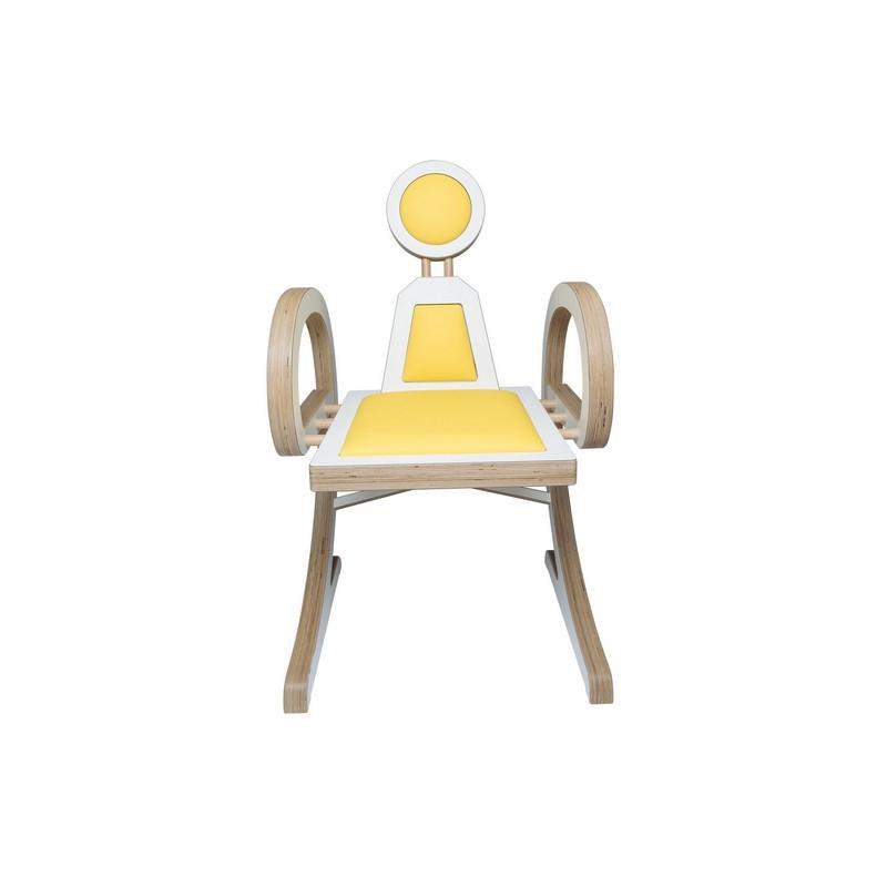 Chaise ELENA design et tendance en bois, blanc/jaune