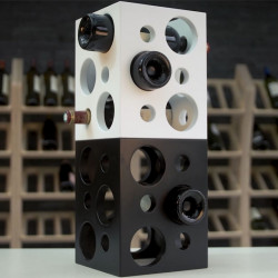 """Présentoir à vins """"cube"""" laqué blanc/noir 6 bouteilles"""