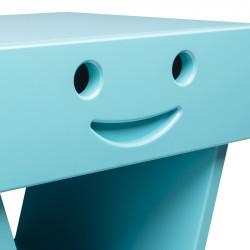 Zoom table de chevet sourire pour enfant, couleur cyan