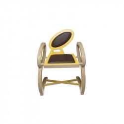 Chaise NOELA en bois design, couleur jaune/marron