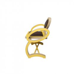 Profil chaise NOELA en bois design, couleur jaune/marron