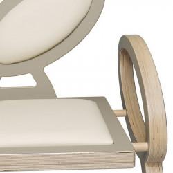 Zoom chaise NOELA en bois design, couleur taupe/beige