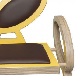 Zoom chaise NOELA en bois design, couleur jaune/marron