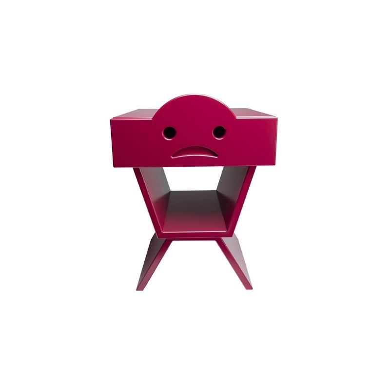Table de chevet TRISTAN pour enfant, couleur bordeau
