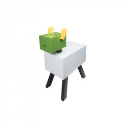 Table de chevet CABOTINE originale et atypique pour enfant, couleur blanc/vert