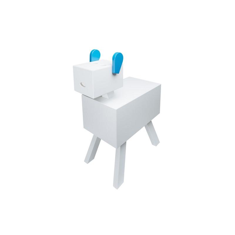 Table de chevet CABOTINE originale et atypique pour enfant, couleur blanc