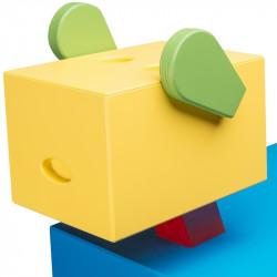 Table de chevet CABOTINE originale et atypique pour enfant, couleur bleu/jaune