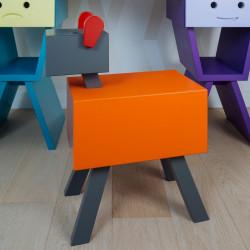 Table de chevet CABOTINE originale et atypique pour enfant, couleur orange/gris foncé