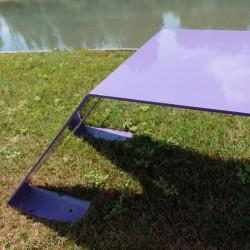 Banc extérieur en métal ludique, coloré et original, couleur violet
