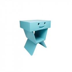 Table de chevet sourire pour enfant, couleur cyan