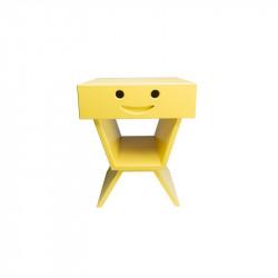 Table de chevet sourire pour enfant, couleur jaune