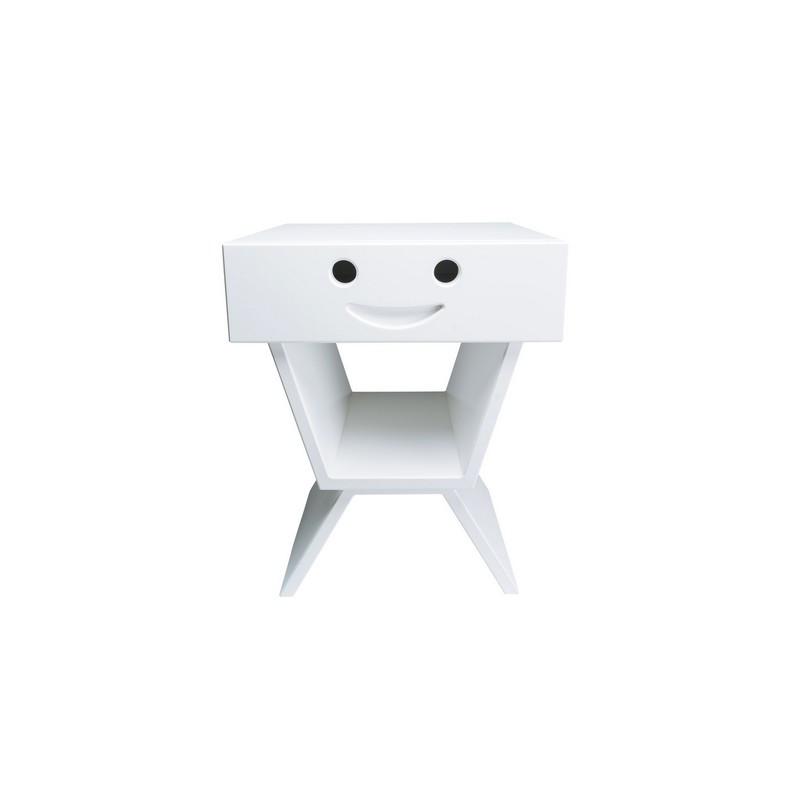 Table de chevet sourire pour enfant, couleur blanc