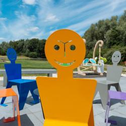 Chaise pour l'extérieur en métal ludique, colorée et originale, couleur jaune