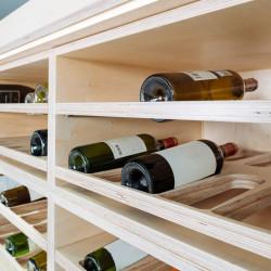 Casier rangement à vins modulable en bois multipli bouleau, 2 tablettes télescopiques à sortie totale, capacité de 24 bouteilles