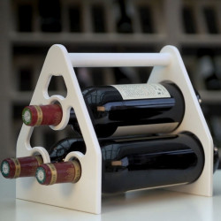 """Porte bouteilles """"triangle"""", couleur blanc, capacité de 3 bouteilles"""
