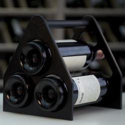 """Porte bouteilles """"triangle"""", couleur noir, capacité de 3 bouteilles"""