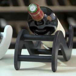 """Présentoir à vin """"S"""" en bois, couleur noir"""