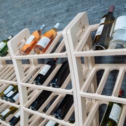 """Grand présentoir à vins """"courbe"""" en bois, capacité 36 bouteilles"""