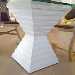 Pied table en verre, grand plateau 210cmx100cm