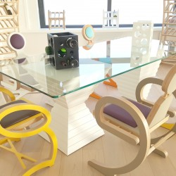 Table en verre, grand plateau 210cmx100cm