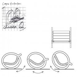 """Croquis d'intention chaise à bascule """"QUIETUDE"""" originale en bois"""