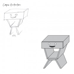 Croquis d'intention table de chevet sourire pour enfant
