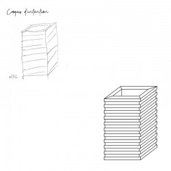 Croquis d'intention meuble d'appoint rectangle design, fonctionnel et élégant, couleur blanc