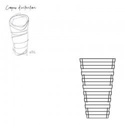 Croquis d'intention meuble d'appoint cône design, fonctionnel et élégant