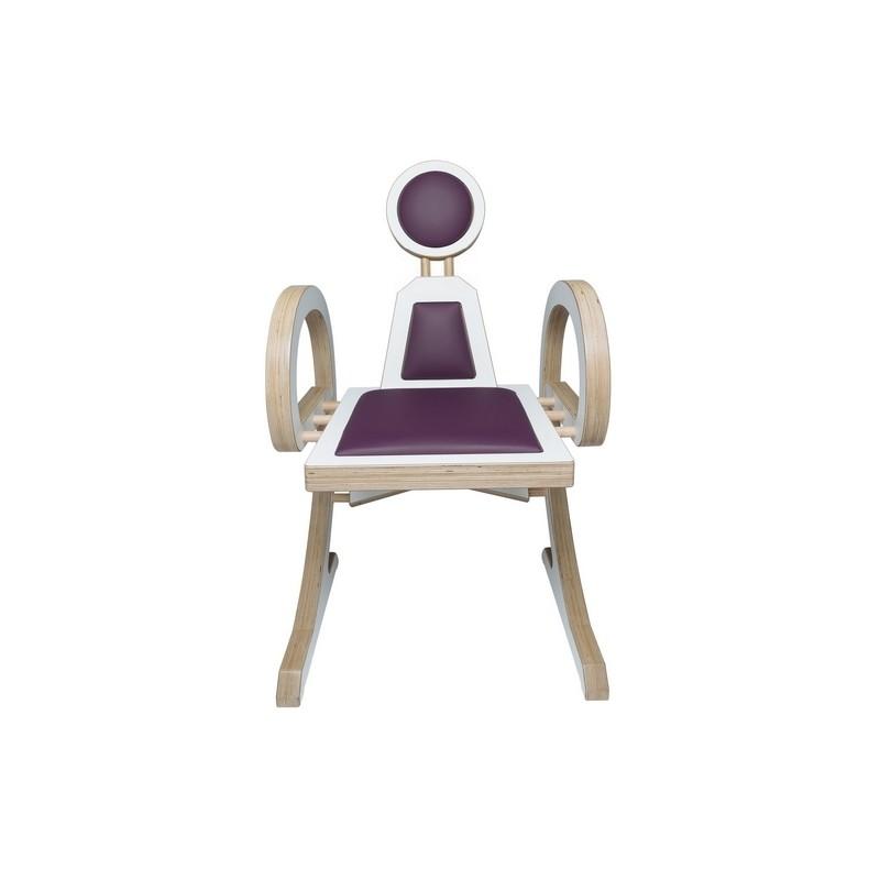 Chaise ELENA design et tendance en bois, blanc/violet