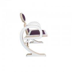 Chaise ELENA design et tendance en bois, blanc/violet de profil