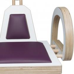 Zoom chaise ELENA design et tendance en bois, blanc/violet