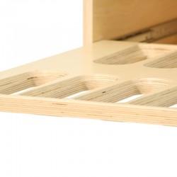 Zoom casier rangement à vins modulable en bois multipli bouleau, 2 tablettes télescopiques à sortie totale