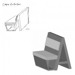 Croquis d'intention banquette originale et design
