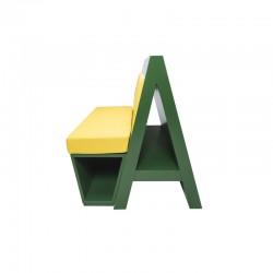 Profil banquette originale et design, couleur vert/jaune